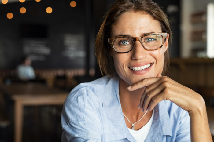 Mature woman wearing stylish glasses
